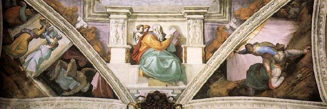 Michelangelo Buonarroti Frescoes above the entrance wall