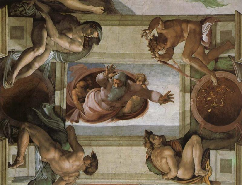 Michelangelo Buonarroti God separates the waters and the country and blesses its work,