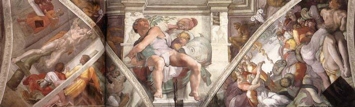 Michelangelo Buonarroti Frescoes above the altar wall