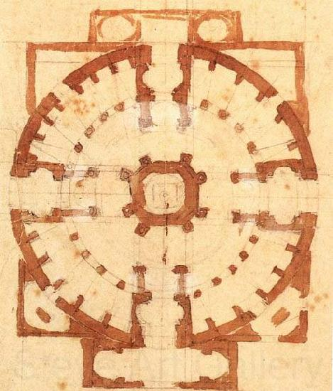 Michelangelo Buonarroti Plan for a Church