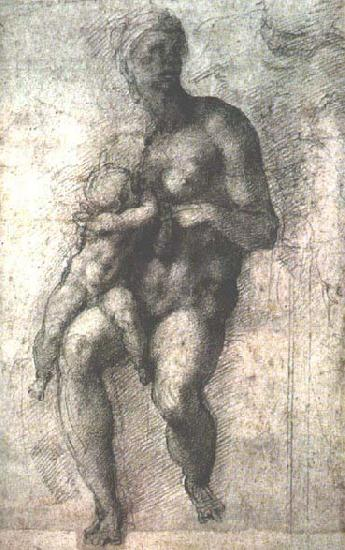 Michelangelo Buonarroti Study for a Madonna and Child